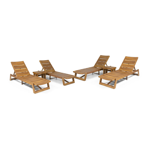 Outdoor Acacia Wood 6 Piece Chaise Lounge Set - NH137213