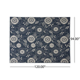 Outdoor Botanical Area Rug, Blue and Ivory - NH175803
