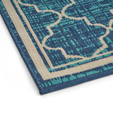 Outdoor Trellis Area Rug, Blue and Ivory - NH575803