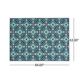 Outdoor Trellis Area Rug, Navy and Blue - NH095803