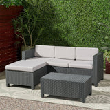 Outdoor Faux Wicker Print 3 Seater Sectional Set with Ottoman - NH951113