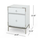 White Glass 2 Drawer Bedside Table - NH702892