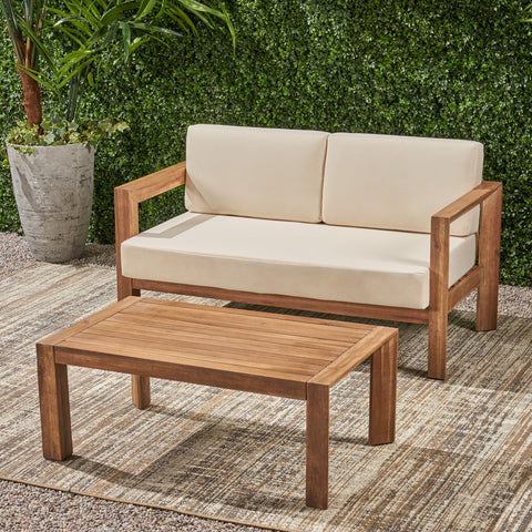 Outdoor 2 Seater Wooden Loveseat and Coffee Table Chat Set with Cushions, Beige and Brown Finish - NH272903