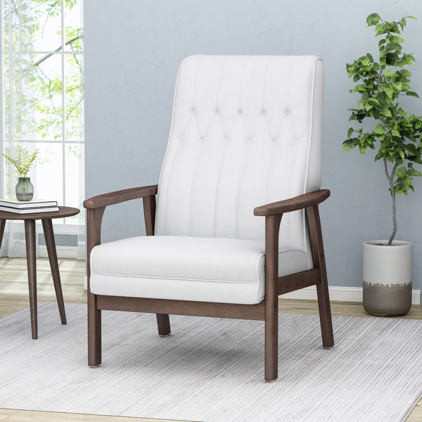 Mid-Century Faux Leather Modern Accent Chair - NH241213
