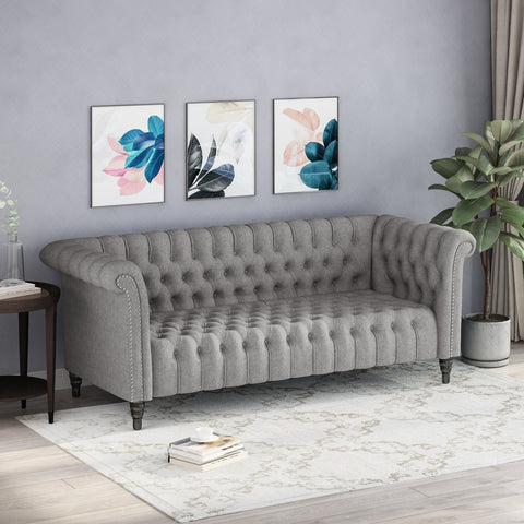 Button Tufted Rolled Back Upholstered Sofa - NH931903