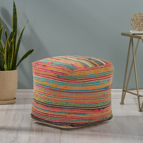 Boho Jute and Chindi Pouf - NH166013