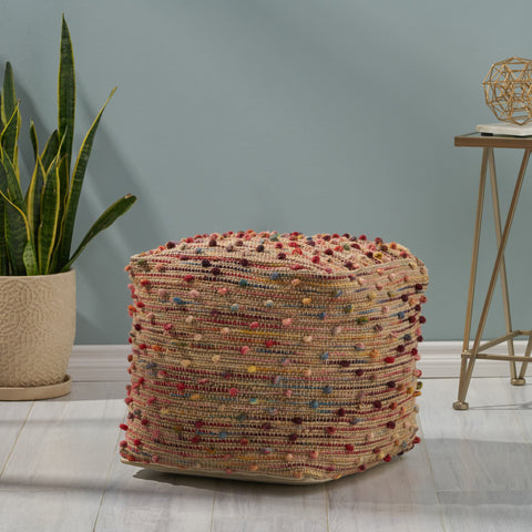 Boho Jute and Cotton Pouf - NH366013