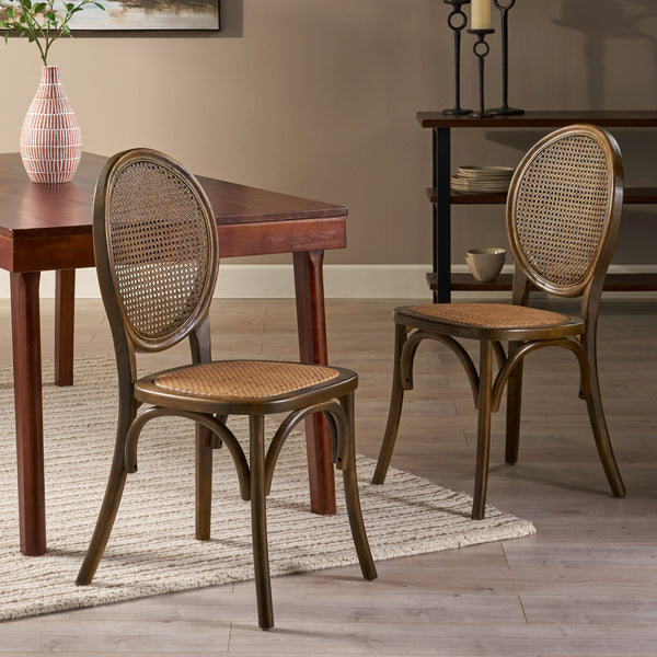 Elm Wood and Rattan Dining Chair (Set of 2) - NH513013