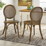 Elm Wood and Rattan Dining Chair (Set of 2) - NH713013
