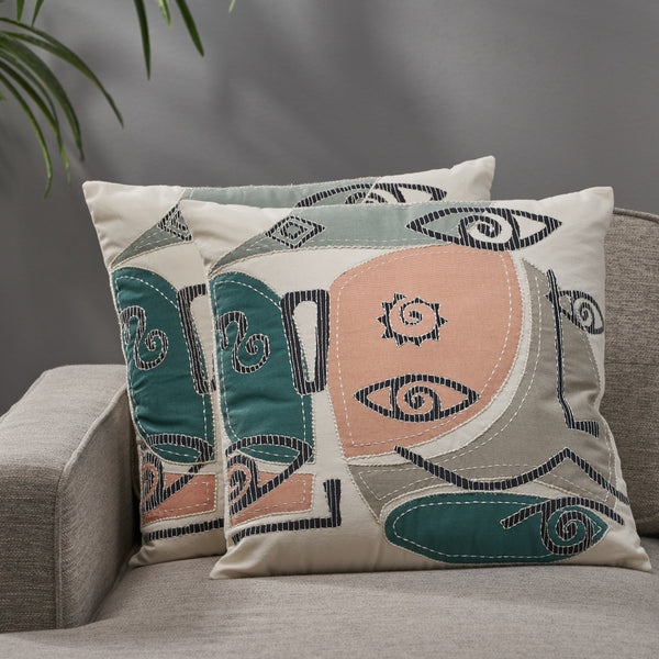 Modern Cotton Pillow Cover (Set of 2) - NH732113