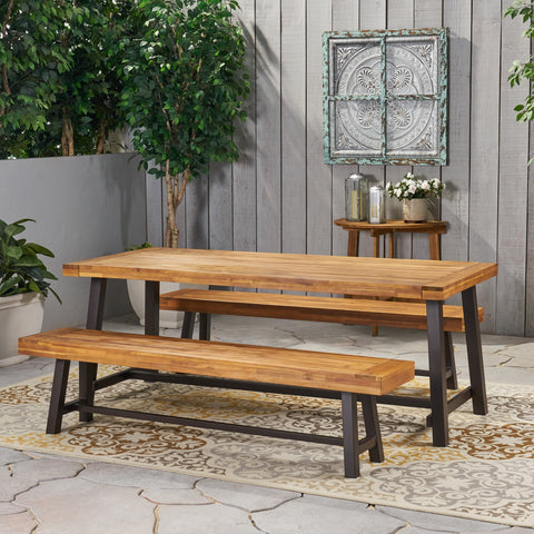 Farmhouse Outdoor Acacia Wood Picnic Dining Set - NH990013