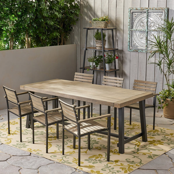 Outdoor Acacia Wood 6 Seater Dining Set - NH356903