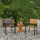 Outdoor Wood and Iron Dining Chairs (Set of 2) - NH928903