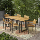 Outdoor 6 Seater Wood and Iron Dining Set - NH138903
