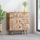 Mid-Century Modern Mango Wood 3 Drawer Chest - NH564013