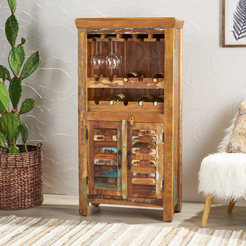 Shabby Reclaimed Wood Wine Rack Bar Cabinet - NH764013