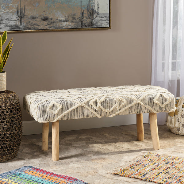 Handcrafted Boho Rectangular Wool & Fabric Bench - NH782113