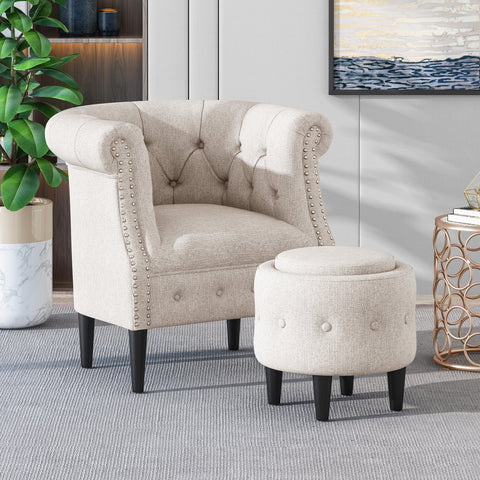 Chesterfield Style Tufted Fabric Accent Chair and Ottoman Set - NH693013