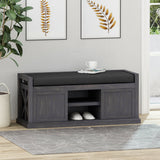 Modern Acacia Wood Storage Bench with Cushion - NH547013