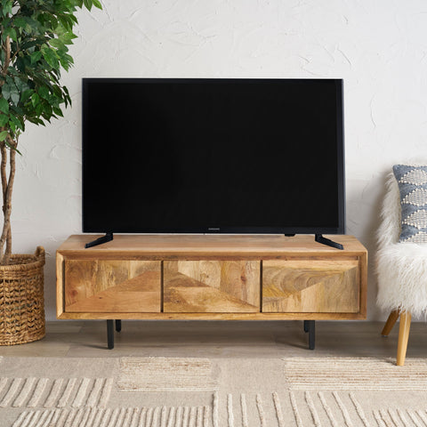 Handcrafted Boho 3-Drawer Wood TV Stand - NH419013