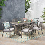 Outdoor Modern 6 Seater Aluminum Dining Set with Cushions - NH754113