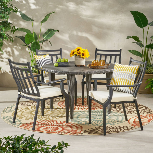 Outdoor 5 Piece Dining Set with Wicker Table - NH078113