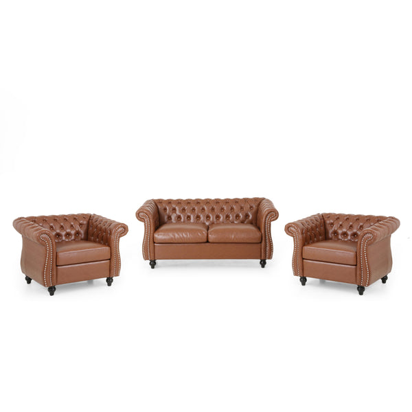 Traditional Chesterfield Loveseat and Club Chair Set - NH072313