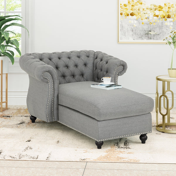 Modern Glam Fabric Chesterfield Chaise Lounge - NH064013