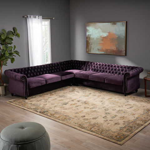 7 Seater Tufted Velvet Chesterfield Sectional - NH304013