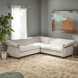 5 Seater Tufted Fabric Chesterfield Sectional - NH014013