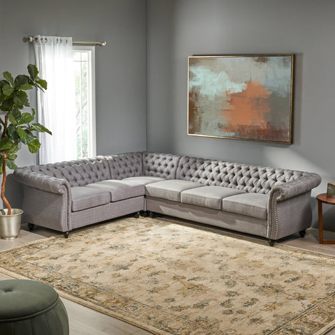 6 Seater Tufted Fabric Chesterfield Sectional - NH904013