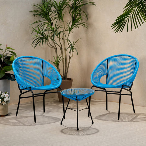 Outdoor Modern 2 Seater Faux Rattan Chat Set - NH280113