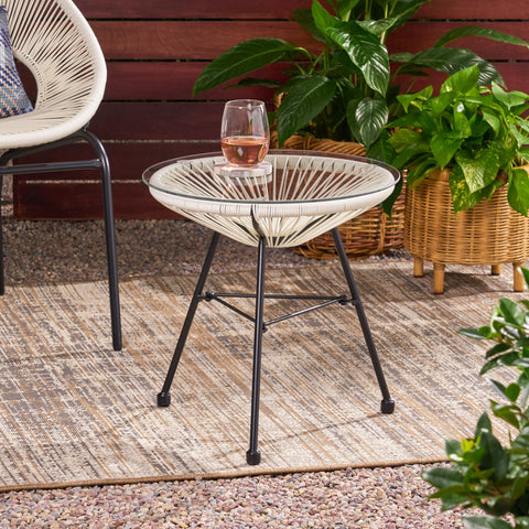 Outdoor Modern Faux Rattan Side Table with Tempered Glass Top - NH620113