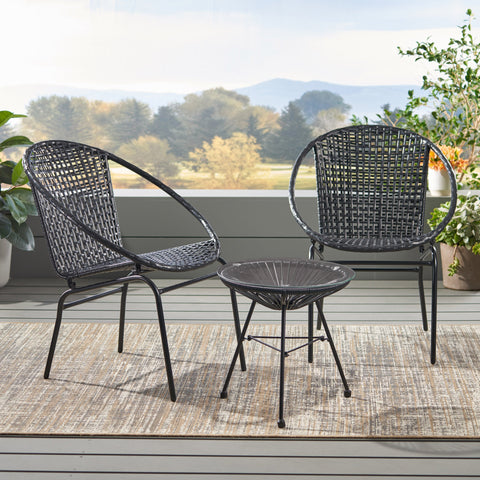 Outdoor Modern 2 Seater Faux Rattan Chat Set - NH680113
