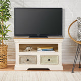 Shabby Wooden 2 Drawer & Shelf TV Stand - NH404113