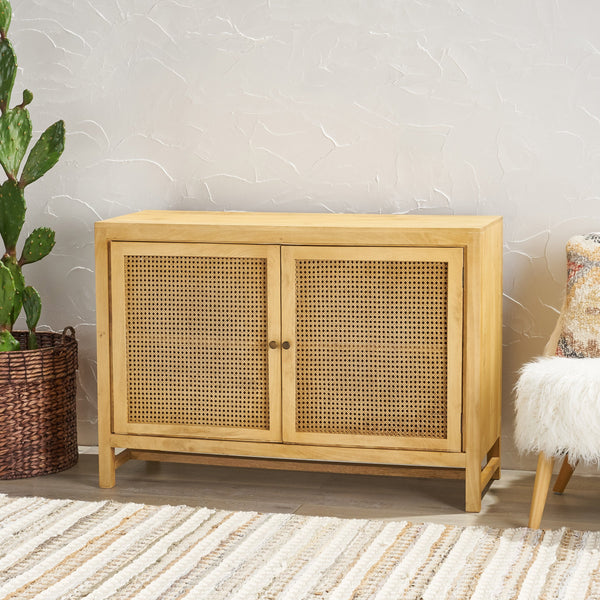 Boho 2 Door Mango Wood Cabinet with Wicker Caning - NH097013