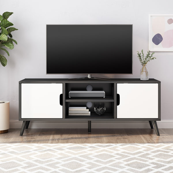 Mid Century Modern 2 Cabinets & Shelves TV Stand - NH924113