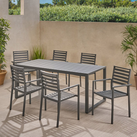 6 Seater Aluminum Dining Set - NH408013