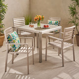 Outdoor Modern 4 Seater Aluminum Dining Set with Tempered Glass Table Top - NH668013