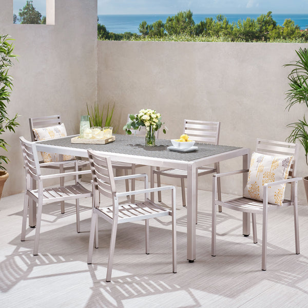 Outdoor Modern 6 Seater Aluminum Dining Set with Wicker Table Top - NH368013
