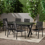 Outdoor Modern 6 Seater Aluminum Dining Set with Expandable Table - NH248013