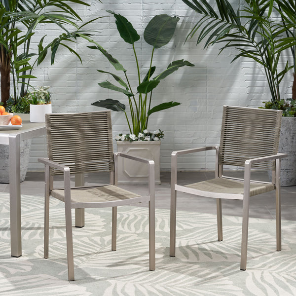 Outdoor Modern Aluminum Dining Chair with Rope Seat (Set of 2) - NH638013
