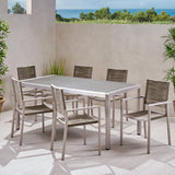 Outdoor Modern 6 Seater Aluminum Dining Set with Wicker Table Top - NH348013