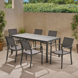 Outdoor 6 Seater Aluminum Dining Set with Tempered Glass Table Top - NH928013