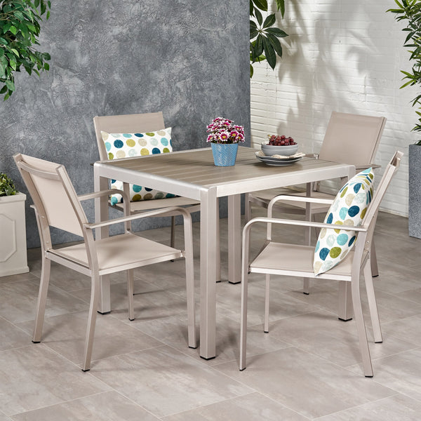 Outdoor Modern 4 Seater Aluminum Dining Set with Faux Wood Table Top - NH338013