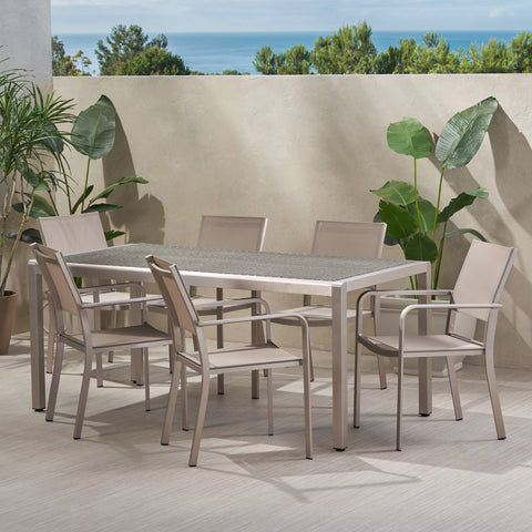 Outdoor Modern 6 Seater Aluminum Dining Set with Wicker Table Top - NH138013
