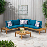 Outdoor 5 Seater V Shaped Acacia Wood Sectional Sofa Set with Cushions - NH623013