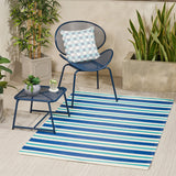 Outdoor Modern Scatter Rug, Night Blue, Turquoise, and Cream - NH410113