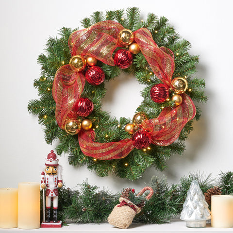 24-inch Noble Fir Pre-Lit Warm White LED Pre-Decorated Artificial Christmas Wreath - NH351113