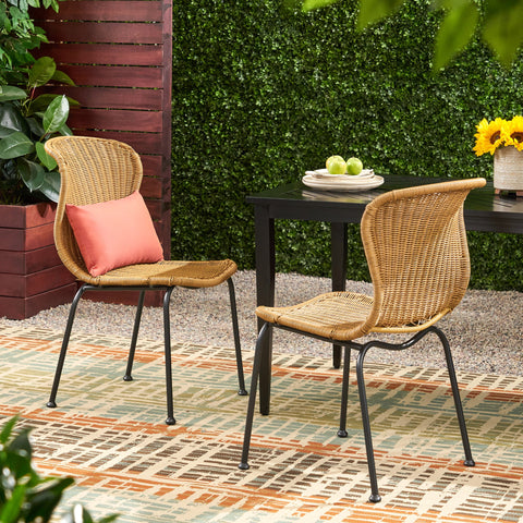 Outdoor Boho Wicker Dining Chair (Set of 2) - NH696113